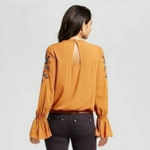 Tops - Embroidered Bell Sleeve Top